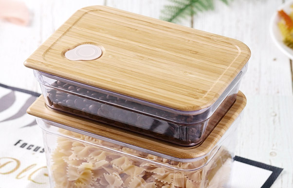 Eco-friendly BPA free plastic container with bamboo lid